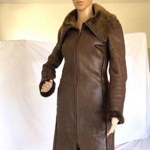 Chocolate 100% genuine quality leather fur coat